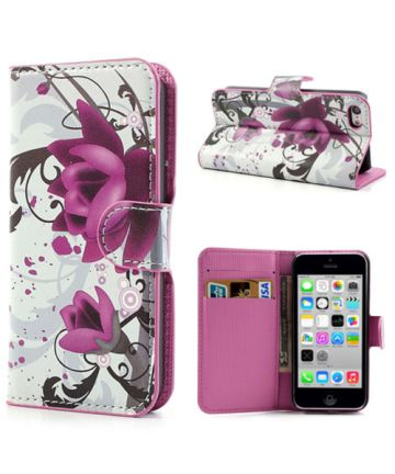 Apple iPhone 5C Wallet Hoesje Lotus Bloem