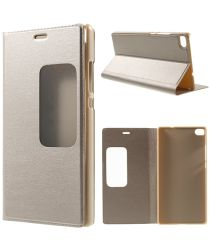 Huawei Ascend P8 View Window Flip Case Goud