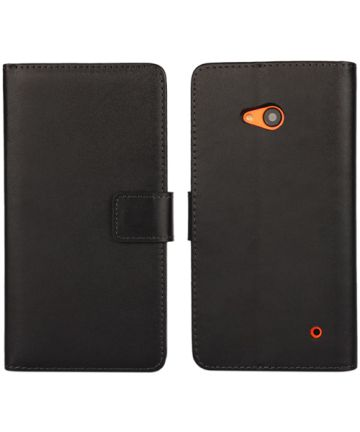 Microsoft Lumia 640 Split Leather Wallet Case Zwart
