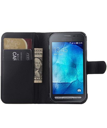 Samsung Galaxy Xcover 3 Litchi Stand Case Zwart