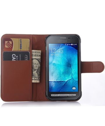 Samsung Galaxy Xcover 3 Litchi Stand Case Bruin