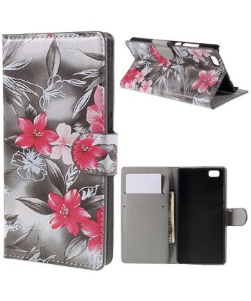 Huawei Ascend P8 Lite Red Flower Wallet Case Hoesjes
