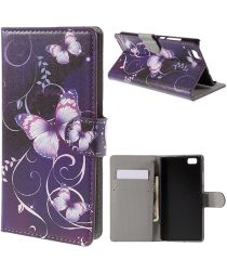 Huawei Ascend P8 Lite Purple Butterfly Wallet Case