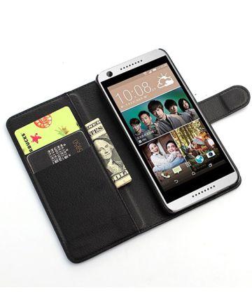 HTC Desire 626 Litchi Stand Case Zwart