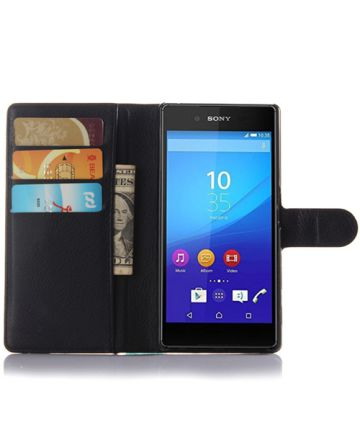 Sony Xperia Z5 Lychee Cover Stand Zwart Hoesjes