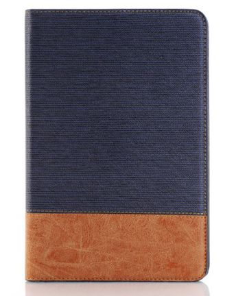 Apple iPad Mini 4 Texture Wallet Book Case Blauw