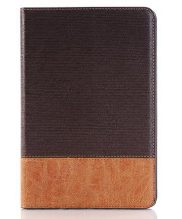 Apple iPad Mini 4 Texture Wallet Book Case Coffee Hoesjes