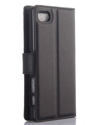 Sony Xperia Z5 Compact Litchi Stand Case Zwart