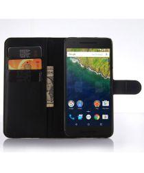 Huawei Nexus 6P Wallet Flip Case Stand Zwart