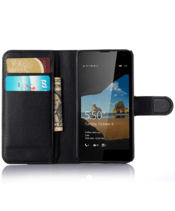Microsoft Lumia 550 Portemonnee Lychee Leer Case Zwart Hoesjes