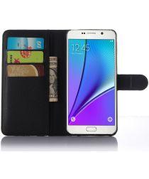 Samsung Galaxy A5 (2016) Lychee Portemonnee Case Zwart