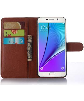 Samsung Galaxy A5 (2016) Lychee Portemonnee Case Bruin