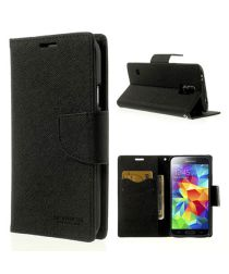 Samsung Galaxy S5 Mercury Fancy Diary Wallet Case Zwart