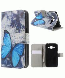 Samsung Galaxy Core Prime (VE) Print Portemonnee Hoesje Blue Butterfly