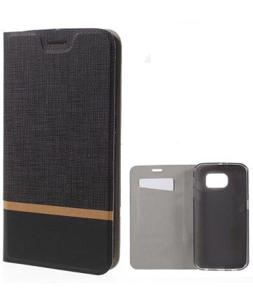 Samsung Galaxy S7 Kruis Textuur Flip Hoesje Zwart