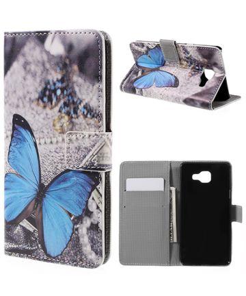 Samsung Galaxy A5 (2016) Flip Hoesje met Print Blue Butterflies Hoesjes