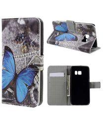 Samsung Galaxy S7 Wallet Hoesje Print Blauw Vlinder