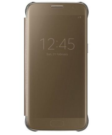 Samsung Galaxy S7 Clear View Flip Case Goud Origineel