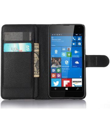 Microsoft Lumia 650 Portemonnee Hoesje Zwart Hoesjes