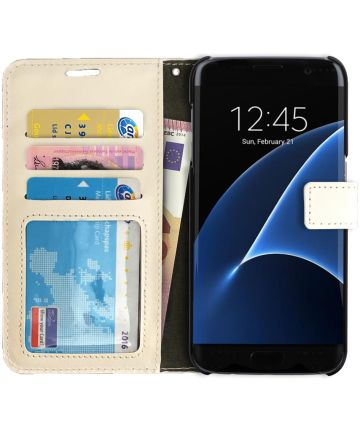 Samsung Galaxy S7 Edge Crazy Horse Flip Hoesje Wit