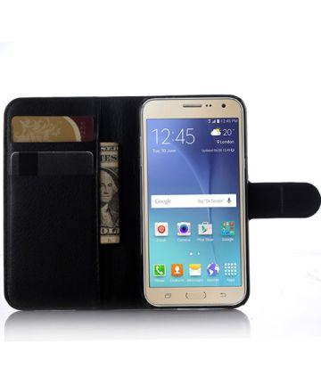Samsung Galaxy J3 (2016) Litchi Portemonnee Hoesje Zwart