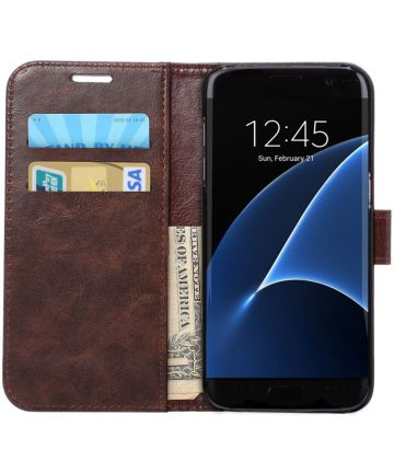Samsung Galaxy S7 Edge Portemonnee Bookcase Hoesje Coffee