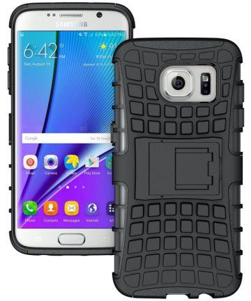 Samsung Galaxy S7 Edge Hybrid Kickstand Hoesje Zwart Hoesjes