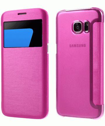 Samsung Galaxy S7 Edge Window View Flip Hoesje Roze Hoesjes