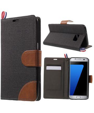 Samsung Galaxy S7 Edge Denim Portemonnee Hoesje Zwart
