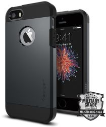Spigen Tough Armor Hoesje iPhone SE Metal Slate
