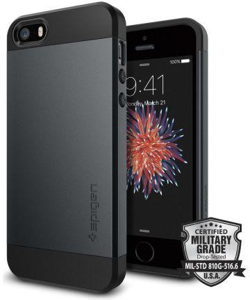 Spigen Slim Armor Hoesje iPhone SE Metal Slate Hoesjes