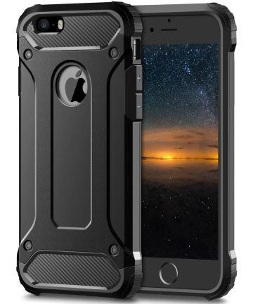 Apple iPhone 5/5S/SE Hoesje Shock Proof Hybride Back Cover Zwart Hoesjes