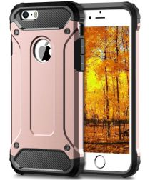 Apple IPhone 5/5S/SE Hoesje Shock Proof Hybride Back Cover Roze Goud