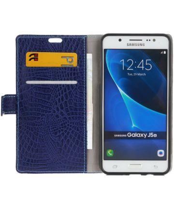 Samsung Galaxy J5 (2016) Krokodil Flipcase Donker Blauw