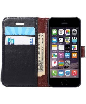Apple iPhone SE / 5S / 5 Hoesje Portemonnee Zwart