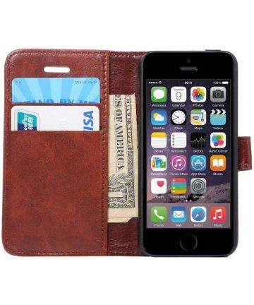 Apple iPhone SE / 5S / 5 Hoesje Portemonnee Bruin Hoesjes