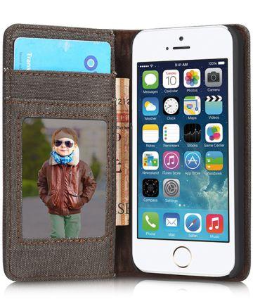 Apple iPhone SE/5/5S Caseme Canvas Skin Portemonnee Hoesje Zwart