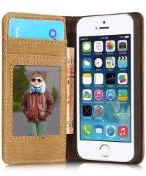 Apple iPhone SE/5/5S Caseme Canvas Skin Portemonnee Hoesje Blauw