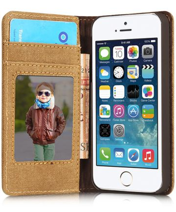 Apple iPhone SE/5/5S Caseme Canvas Skin Portemonnee Hoesje Bruin