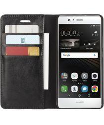 Echt Leren Huawei P9 Lite Bookcase Hoesje Met Pasjes Zwart