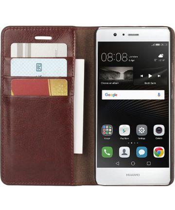 Echt Leren Huawei P9 Lite Bookcase Hoesje Met Pasjes Bruin