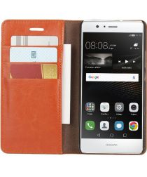 Echt Leren Huawei P9 Lite Bookcase Hoesje Met Pasjes Camel