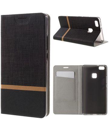 Huawei P9 Lite Hoesje Design Flip Case Zwart