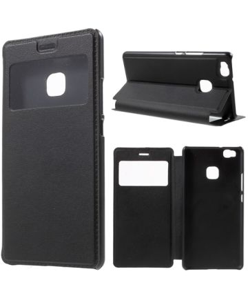 Huawei P9 Lite Window View Flip Case Zwart