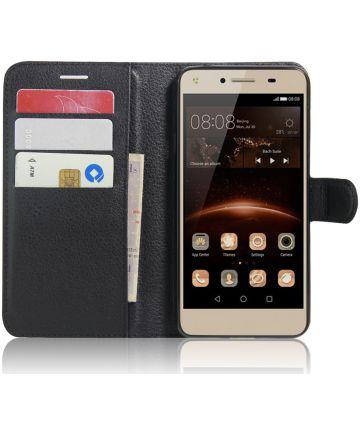 Huawei Y5 2 Portemonnee Hoesje Lychee Zwart