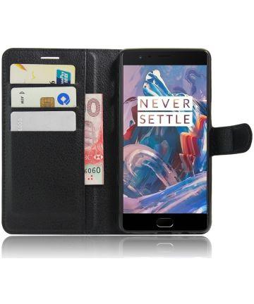 OnePlus 3T / 3 hoesje met kaarthouder zwart Hoesjes