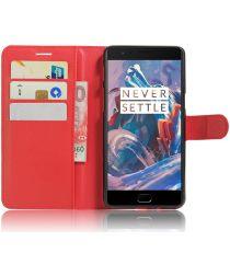 OnePlus 3T / 3 hoesje met kaarthouder rood