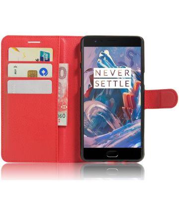 OnePlus 3T / 3 hoesje met kaarthouder rood Hoesjes