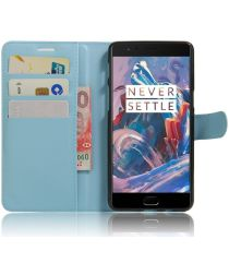 OnePlus 3T / 3 hoesje met kaarthouder blauw