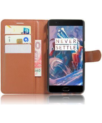 OnePlus 3T / 3 hoesje met kaarthouder bruin Hoesjes